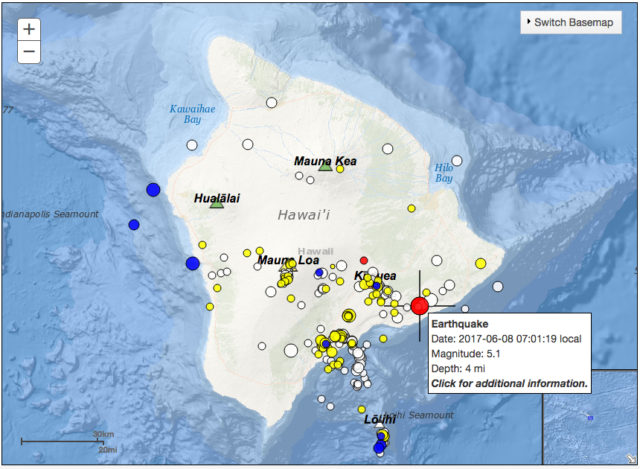 Earthquake south of Volcano prelim @ 5.1