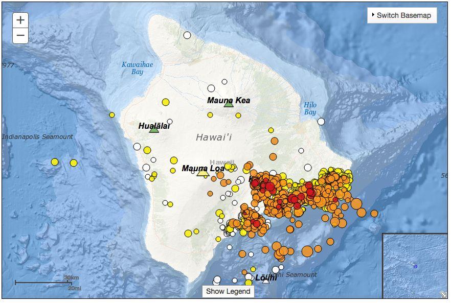 Earthquake map of Hawaii Island