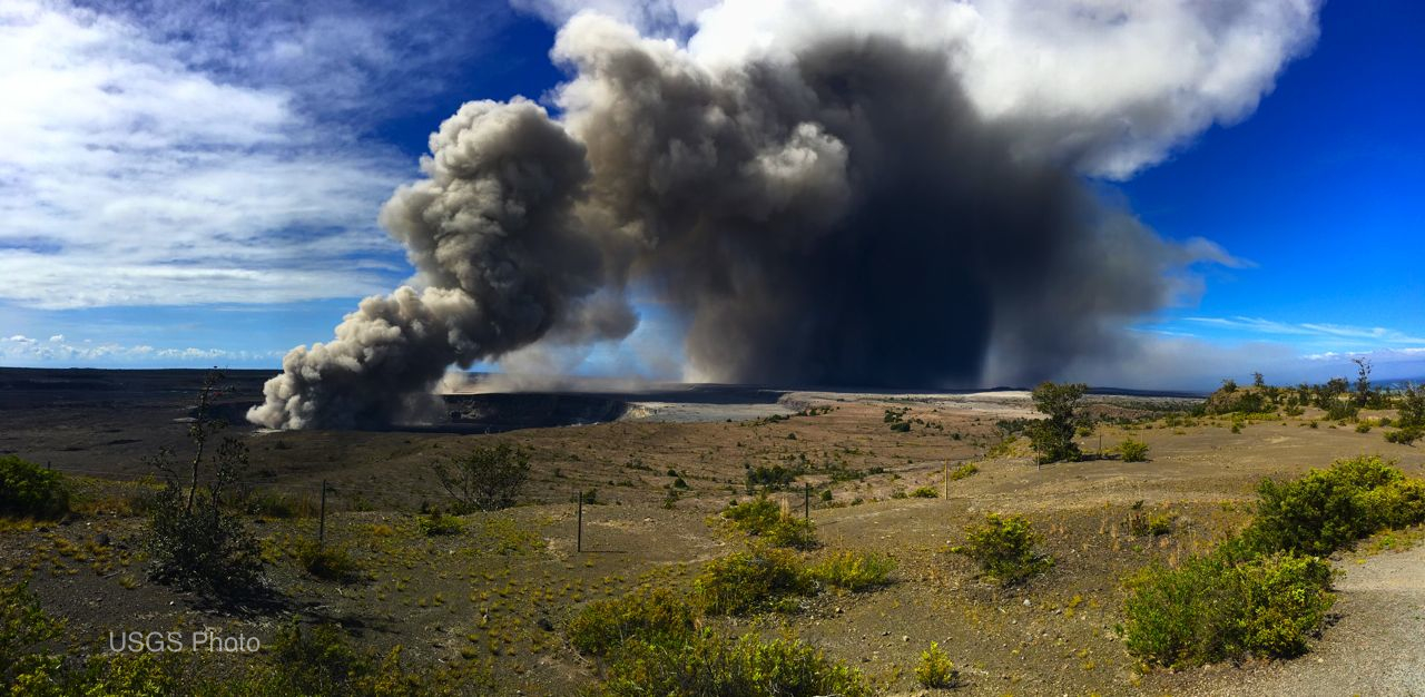 Halemaumau crater spews ash