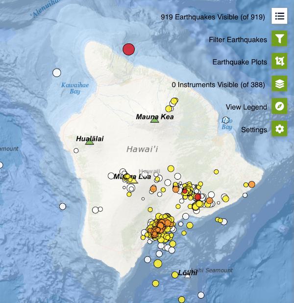 Earthquakes on Hawaii Island 7-5-2021