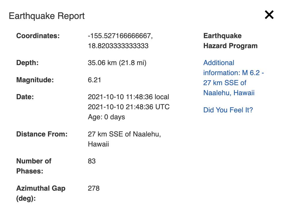 Earthquake quick stats